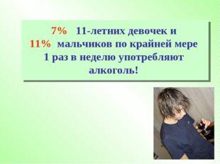 7% 11-летних девочек и 11% мальчиков по крайней мере 1 раз в неделю употребля