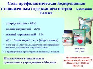 хлорид натрия – 68% калий хлористый – 27% магний сернокислый – 5% 40 ± 15 мк