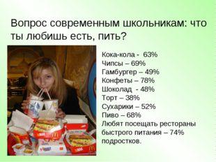 Вопрос современным школьникам: что ты любишь есть, пить? Кока-кола - 63% Чипс