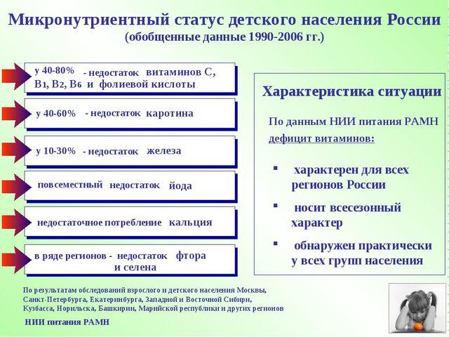 По результатам обследований взрослого и детского населения Москвы, Санкт-Пете...