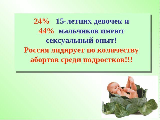 24% 15-летних девочек и 44% мальчиков имеют сексуальный опыт! Россия лидирует...
