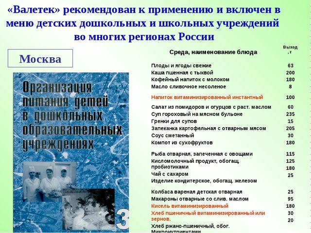 Москва «Валетек» рекомендован к применению и включен в меню детских дошкольны...