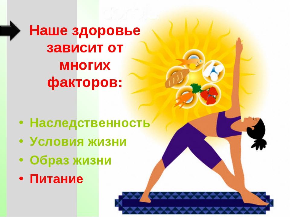 Наше здоровье зависит от многих факторов: Наследственность Условия жизни Обра...