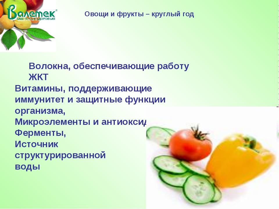 Овощи и фрукты – круглый год Волокна, обеспечивающие работу ЖКТ Витамины, под...