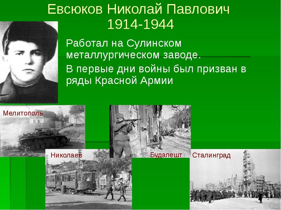 Родился в поселке Сулин. До войны работал в мартеновском цехе Сулинского мета...