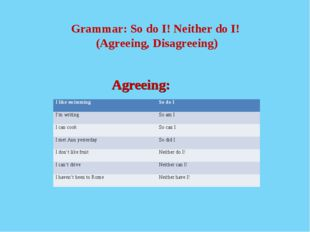Grammar: So do I! Neither do I! (Agreeing, Disagreeing) 				 				Agreeing: I