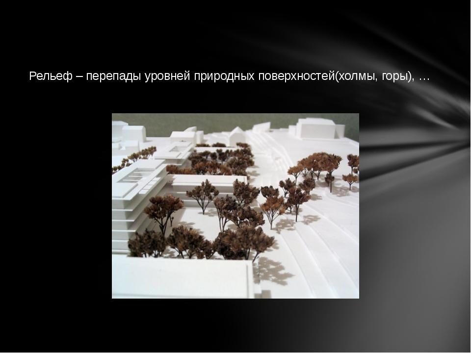 Рельеф – перепады уровней природных поверхностей(холмы, горы), …