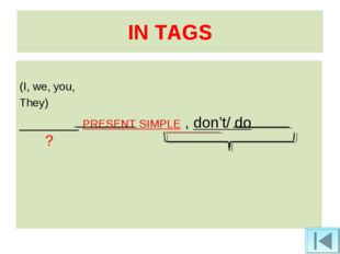 IN TAGS (I, we, you, They) _______ PRESENT SIMPLE , don't/ do ?