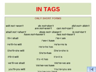 IN TAGS ONLY SHORT FORMS will not =won't do not=don't did not= didn't are not