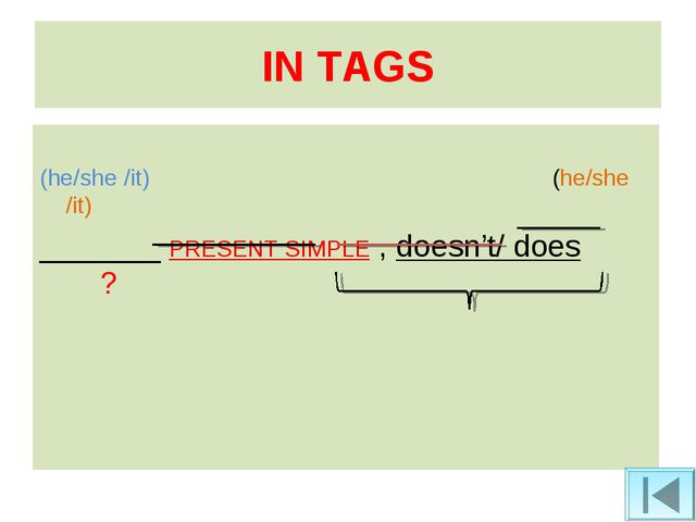 IN TAGS (he/she /it) (he/she /it) _______ PRESENT SIMPLE , doesn't/ does ?