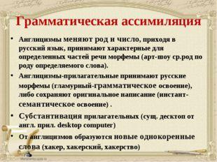 Грамматическая ассимиляция Англицизмы меняют род и число, приходя в русский я