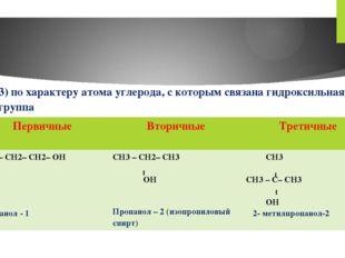 3) по характеру атома углерода, с которым связана гидроксильная группа Первич