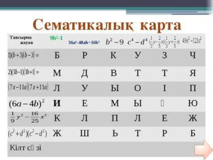 CЕМАТИКАЛЫҚ КАРТА № Тапсырма\жауап (7+q)² в²-9 100а²-в² (4a-3b)² 1 (в-3)(в-3)