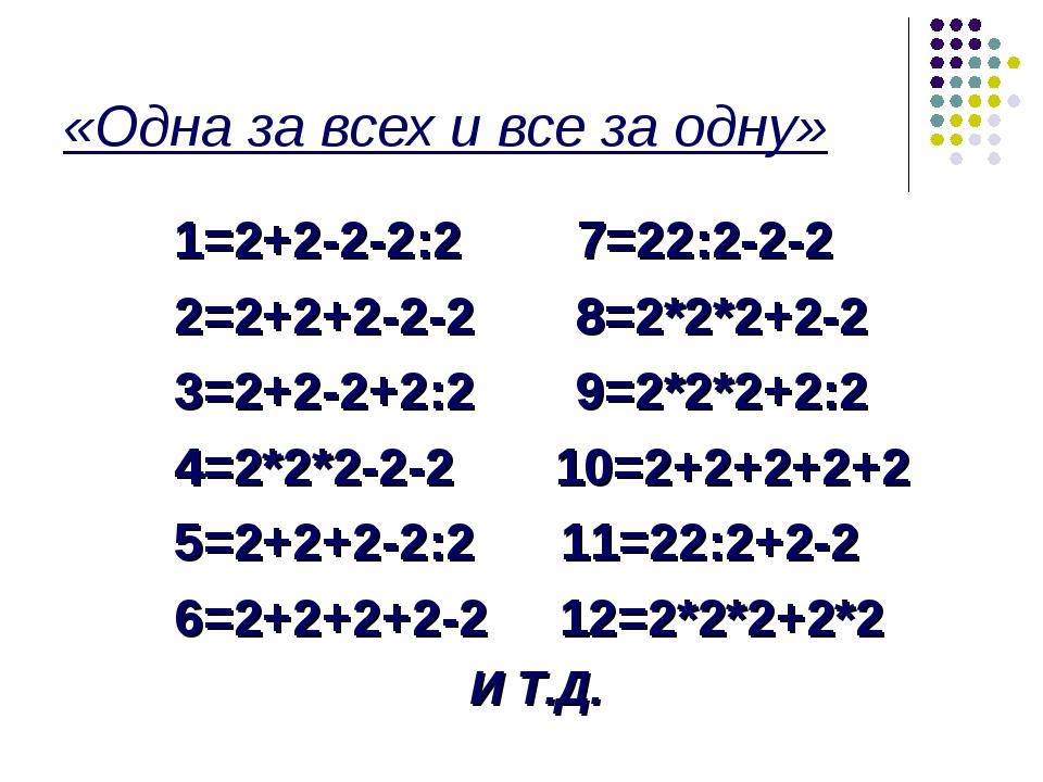 «Одна за всех и все за одну» 1=2+2-2-2:2 7=22:2-2-2 2=2+2+2-2-2 8=2*2*2+2-2 3...