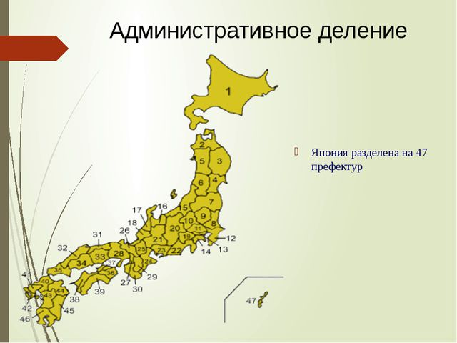 Япония разделена на 47 префектур Административное деление