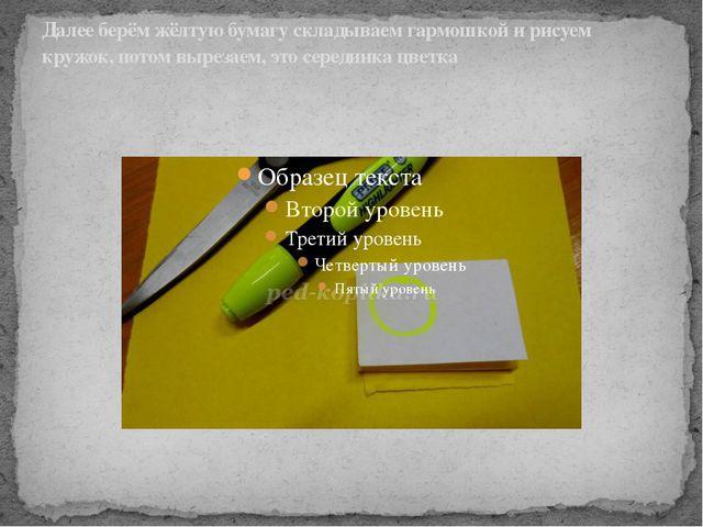 Далее берём жёлтую бумагу складываем гармошкой и рисуем кружок, потом вырезае...