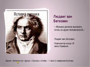 Людвиг ван Бетховен « Музыка должна высекать огонь из души человеческой.» Люд