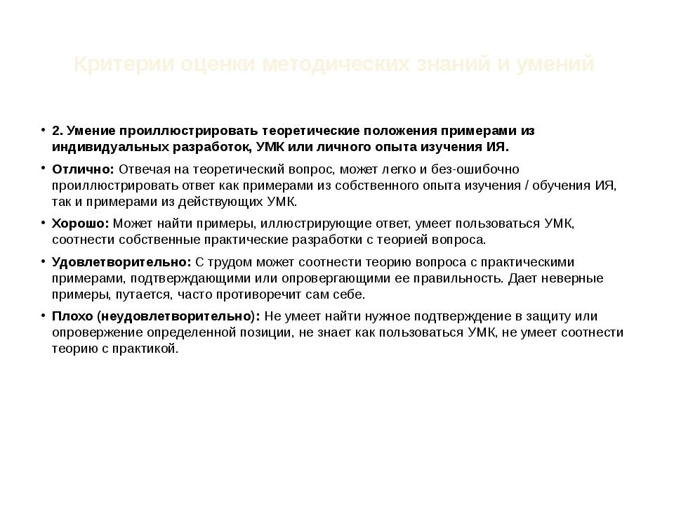 Критерии оценки методических знаний и умений 2. Умение проиллюстрировать теор...