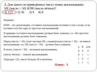 2. Для какого из приведённых чисел ложно высказывание: НЕ (число > 50) ИЛИ (