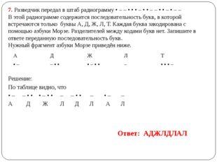 7. Разведчик передал в штаб радиограмму • – – • • • – • • – – • • – • – – В э