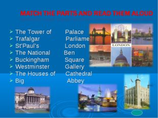 The Tower of Palace Trafalgar Parliament St'Paul's London The National Ben Bu
