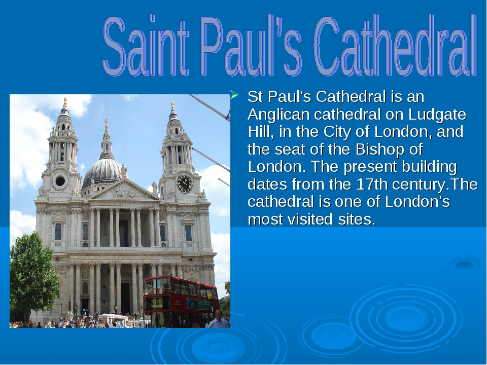 St Paul's Cathedral is an Anglican cathedral on Ludgate Hill, in the City of...