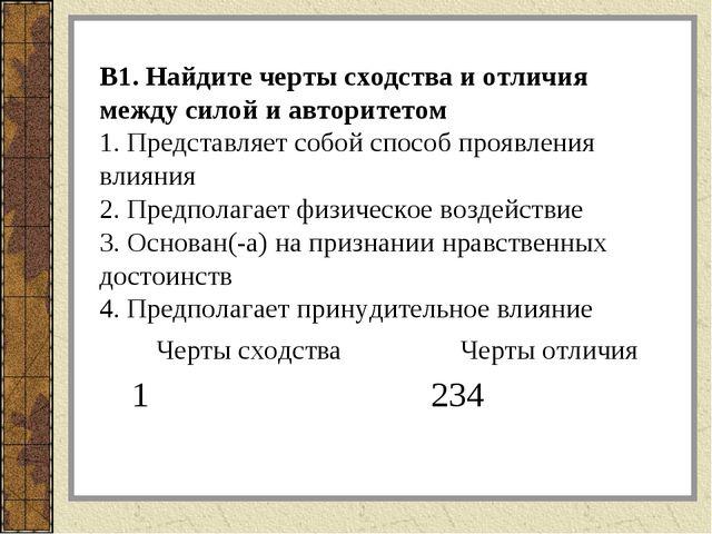 В1. Найдите черты сходства и отличия между силой и авторитетом 1. Представляе...