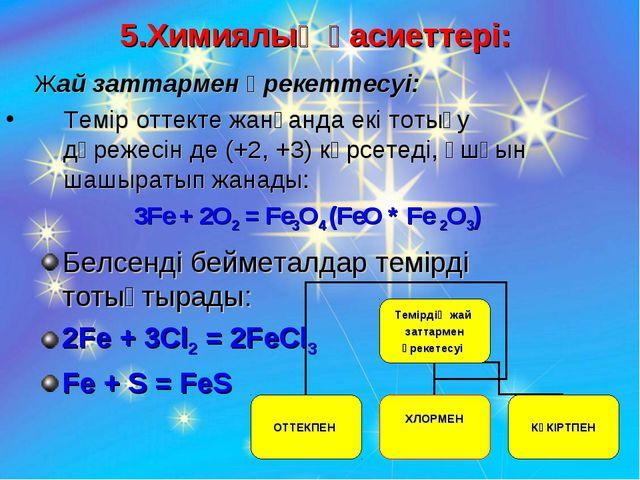 5.Химиялық қасиеттері: Жай заттармен әрекеттесуі: Темір оттекте жанғанда екі...