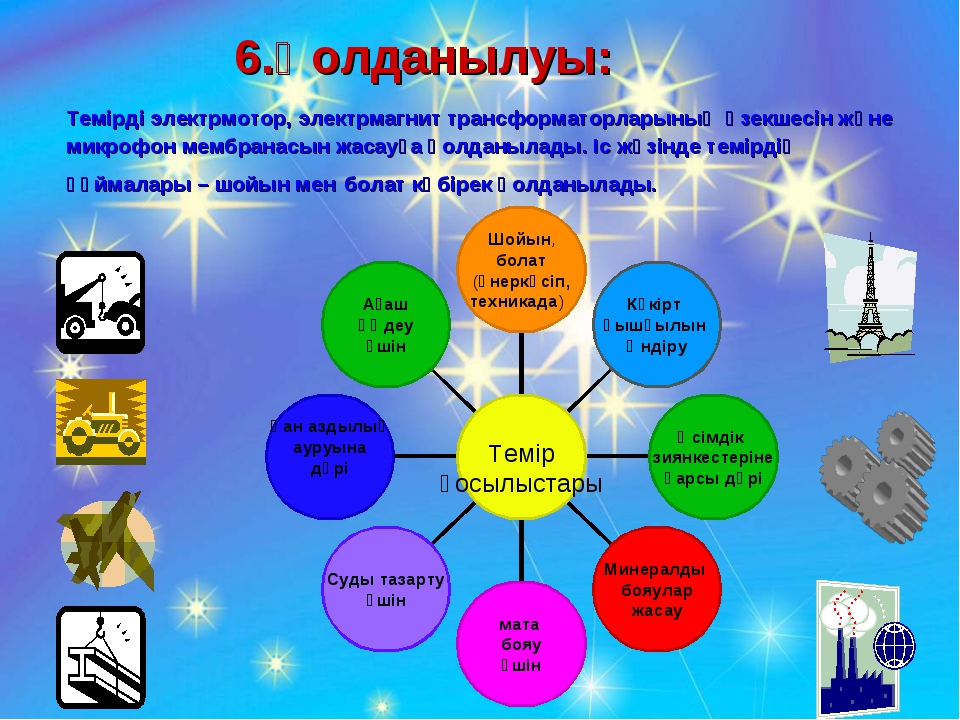 6.Қолданылуы: Темірді электрмотор, электрмагнит трансформаторларының өзекшесі...