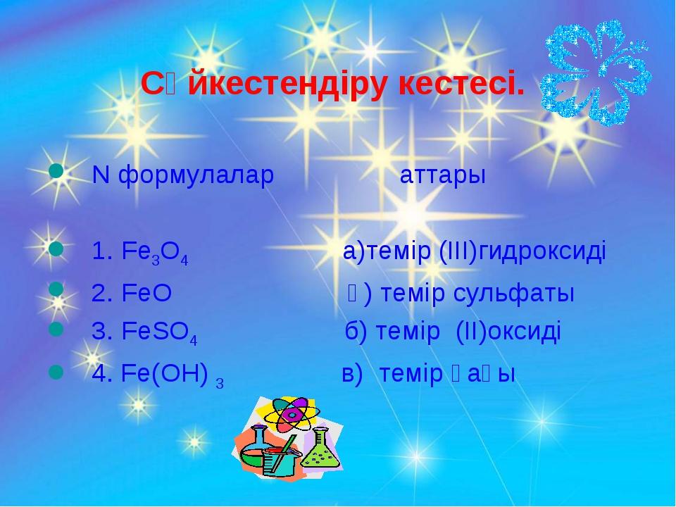 Сәйкестендіру кестесі. N формулалар аттары 1. Fe3O4 а)темір (III)гидроксиді...