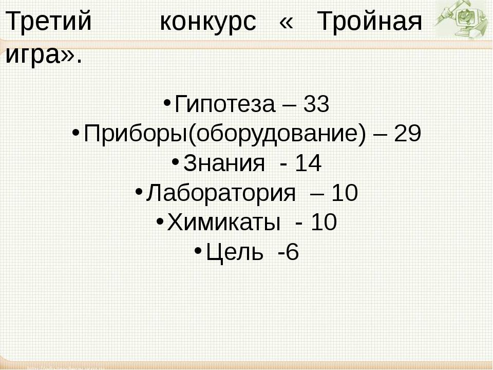 Третий конкурс « Тройная игра». Гипотеза – 33 Приборы(оборудование) – 29 Знан...