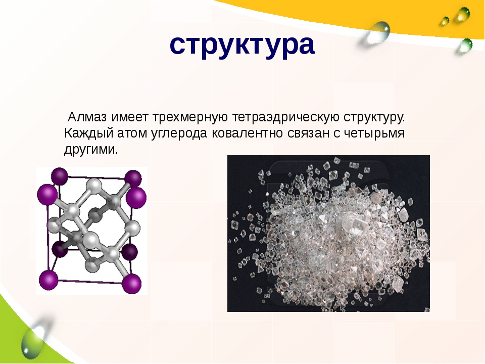 структура Алмаз имеет трехмерную тетраэдрическую структуру. Каждый атом углер...