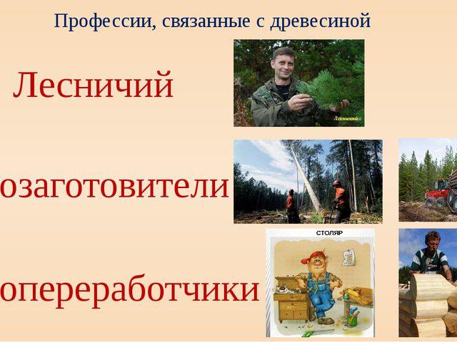 Профессии, связанные с древесиной Лесничий Лесозаготовители Лесопереработчики