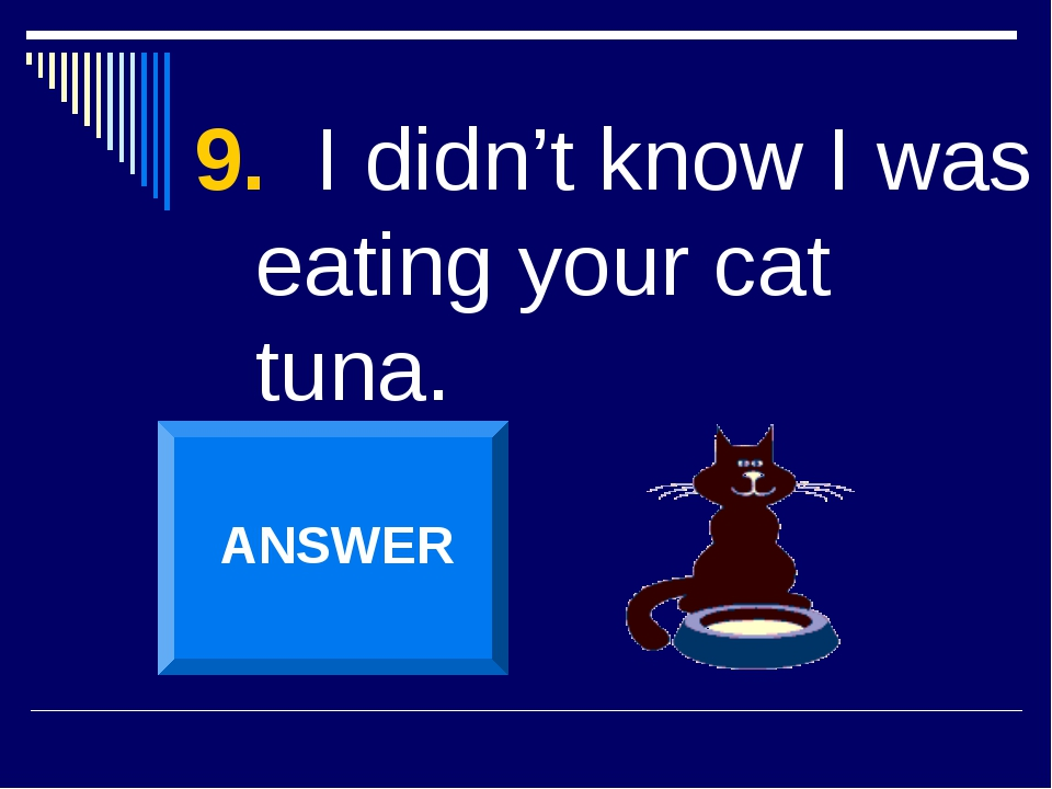 9. I didn't know I was eating your cat tuna. ANSWER
