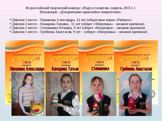 Всероссийский творческий конкурс «Радуга талантов» (апрель 2015 г.) Номинация...