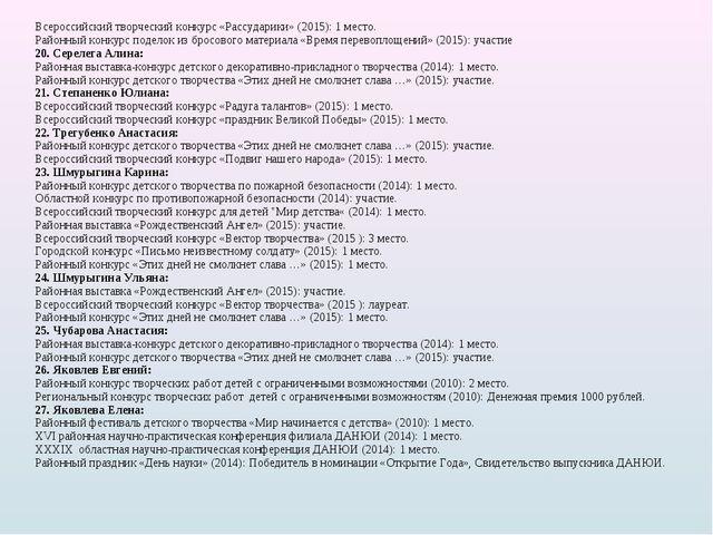 Всероссийский творческий конкурс «Рассударики» (2015): 1 место. Районный конк...