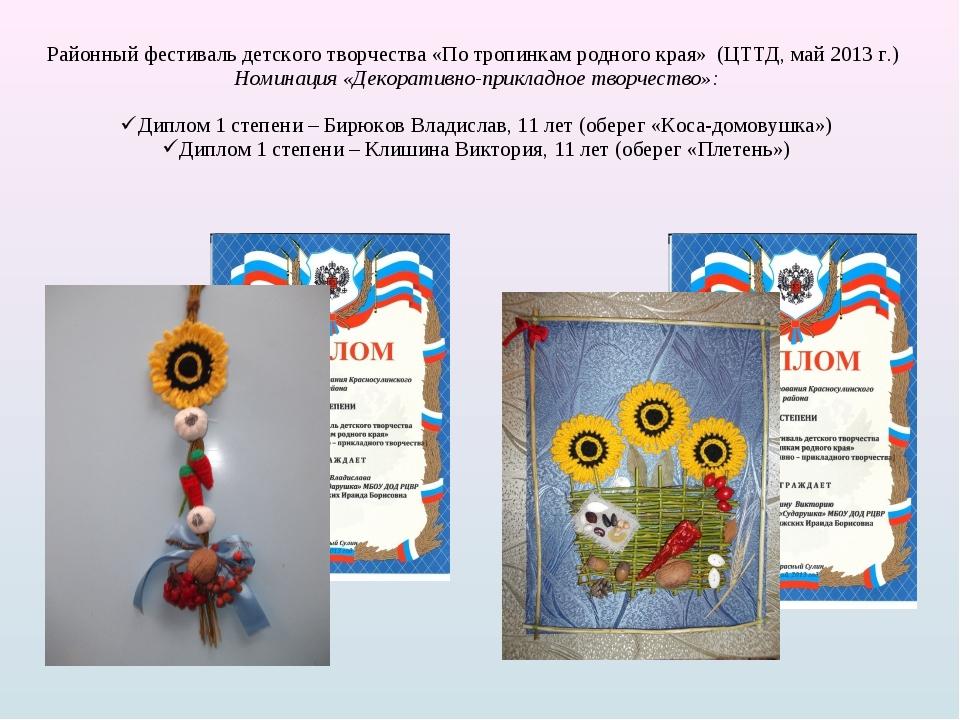 Районный фестиваль детского творчества «По тропинкам родного края» (ЦТТД, май...