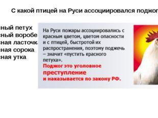С какой птицей на Руси ассоциировался поджог ? Красный петух Красный воробей
