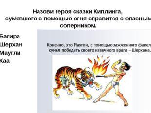 Назови героя сказки Киплинга, сумевшего с помощью огня справится с опасным со