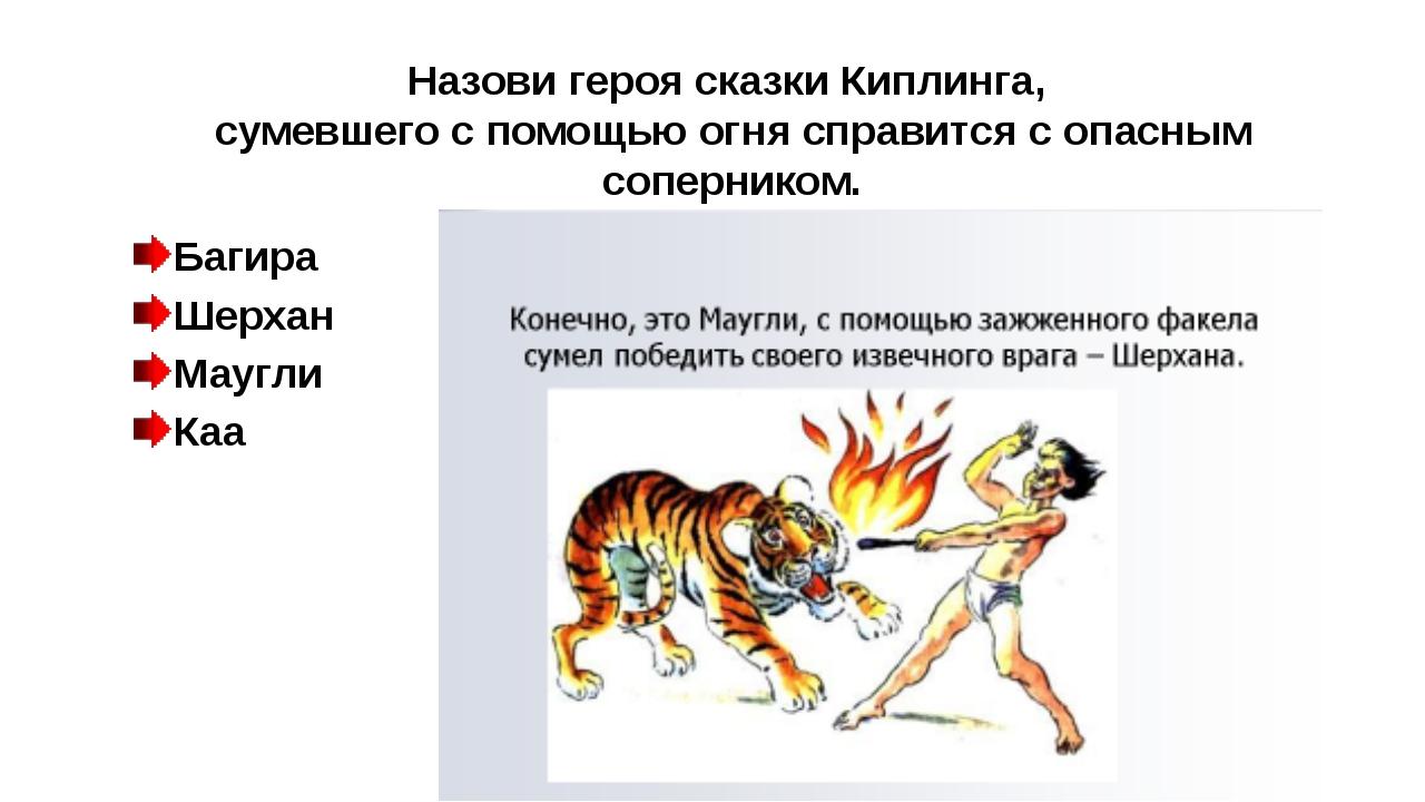 Назови героя сказки Киплинга, сумевшего с помощью огня справится с опасным со...