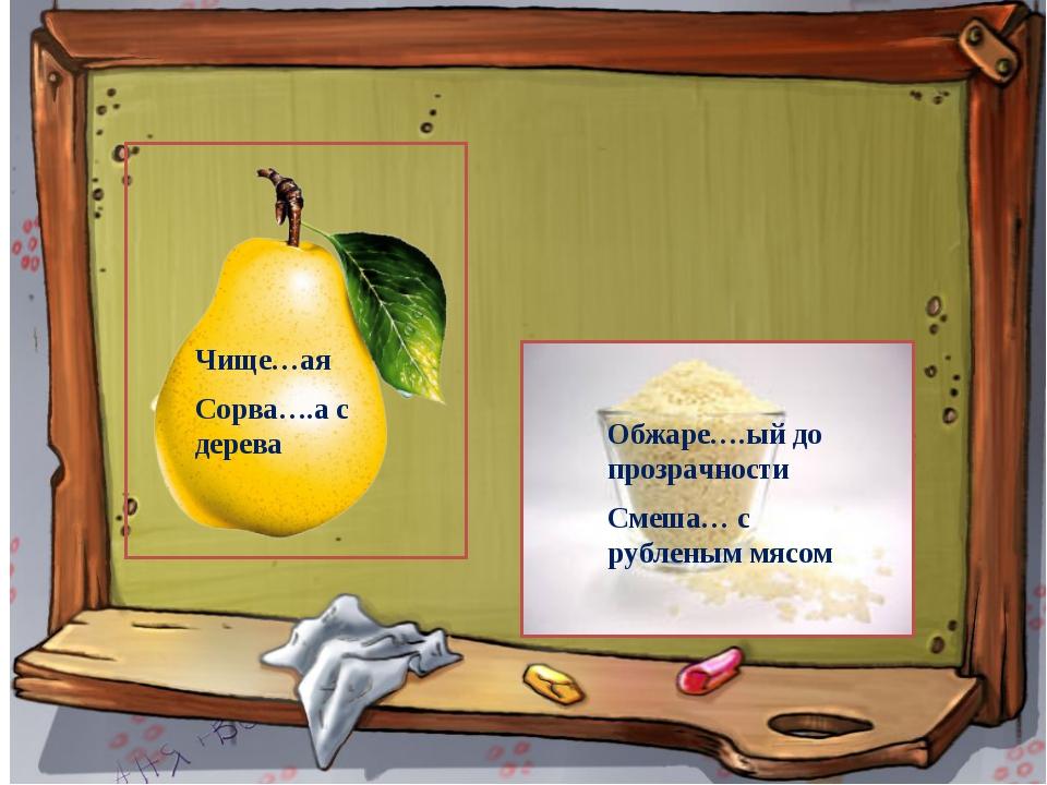 Чище…ая Сорва….а с дерева Обжаре….ый до прозрачности Смеша… с рубленым мясом