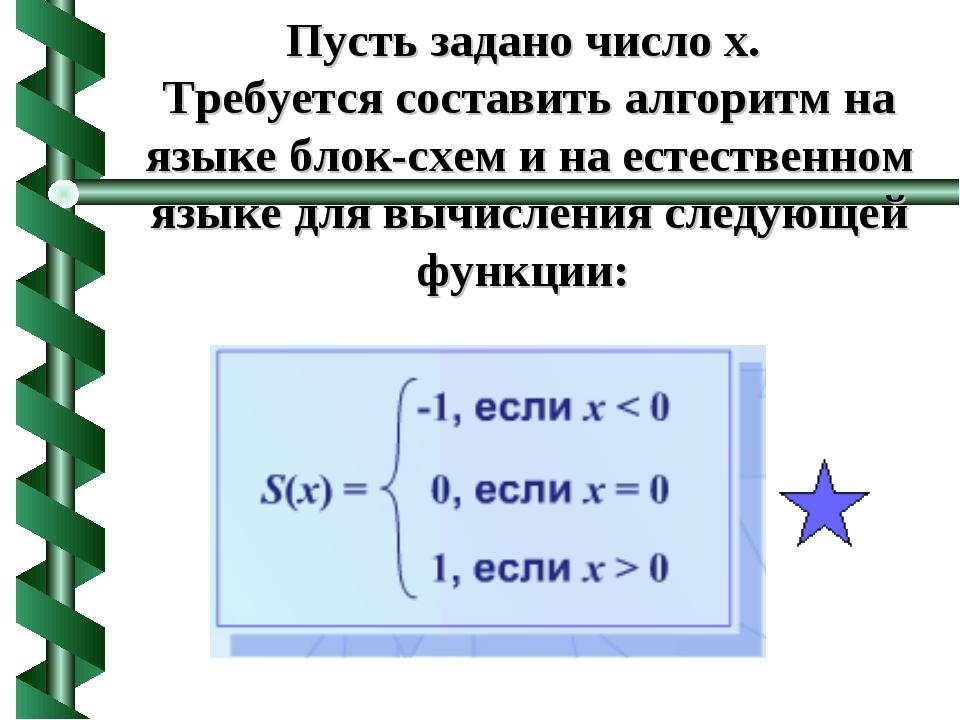 Пусть задано число x. Требуется составить алгоритм на языке блок-схем и на ес...