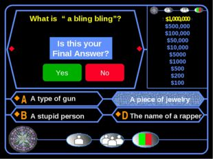 "What is "" a bling bling""? A type of gun A stupid person A piece of jewelry T"