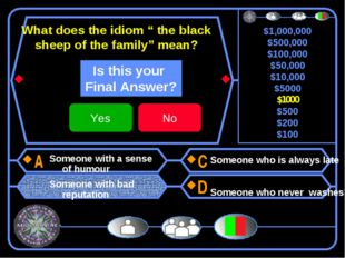 "What does the idiom "" the black sheep of the family"" mean? Someone with a sen"