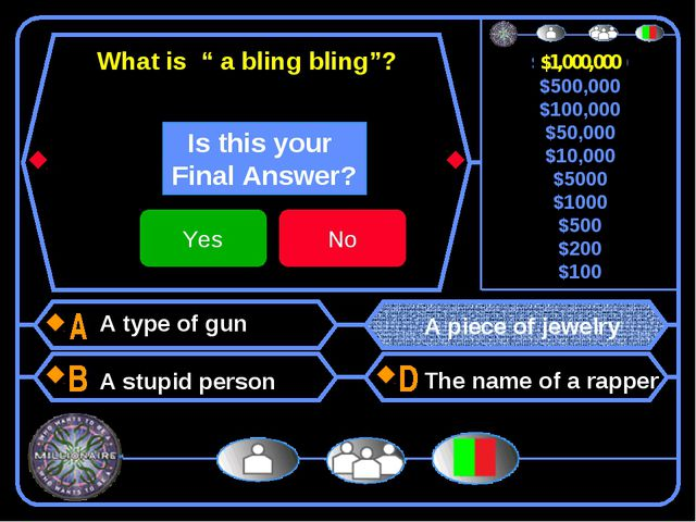 "What is "" a bling bling""? A type of gun A stupid person A piece of jewelry T..."