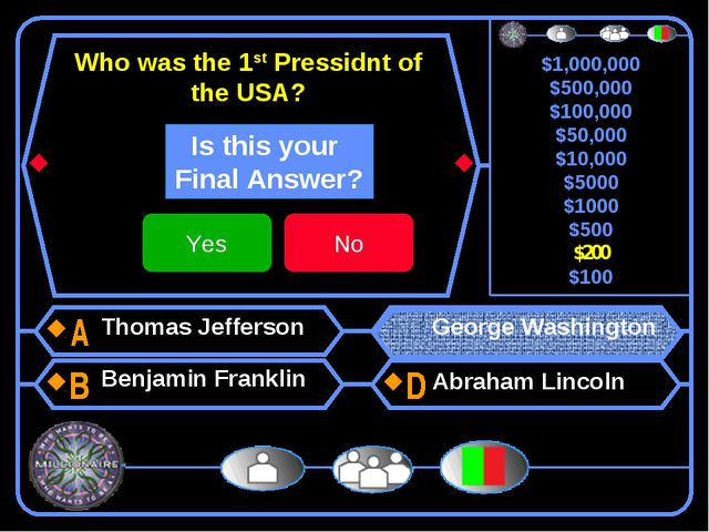 Who was the 1st Pressidnt of the USA? Thomas Jefferson Benjamin Franklin Geor...