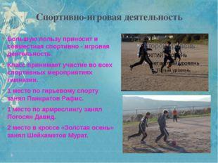 Спортивно-игровая деятельность Большую пользу приносит и совместная спортивно