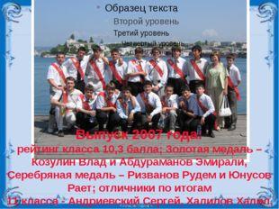 Выпуск 2007 года: рейтинг класса 10,3 балла; Золотая медаль – Козулин Влад и