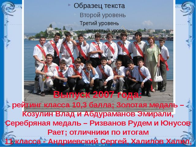 Выпуск 2007 года: рейтинг класса 10,3 балла; Золотая медаль – Козулин Влад и...