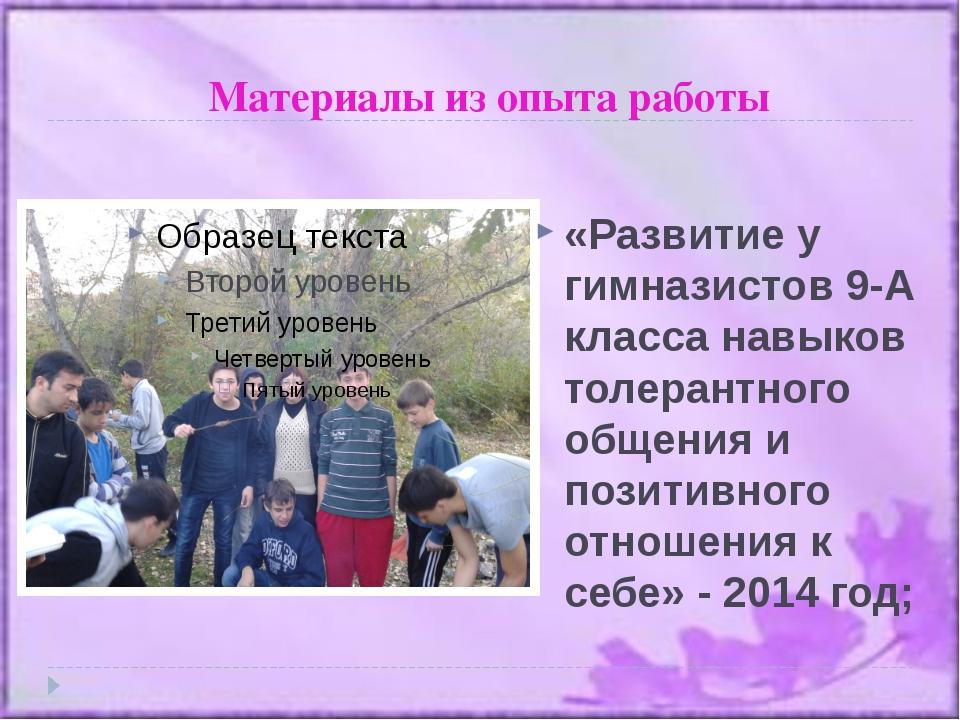 Материалы из опыта работы «Развитие у гимназистов 9-А класса навыков толерант...